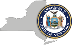Outline of New York State & the NYS Assembly Seal