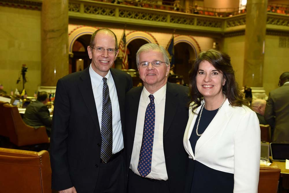 Assemblyman Fred W. Thiele, Jr. welcomed Robert Chaloner, President and CEO of Southampton Hospital and Dr. Kristie Golden, Associate Director of Operations, Neurosciences, Stony Brook University Hospital, to the New York State Assembly Chamber during their recent visit to Albany on Tuesday, March 1, 2016.