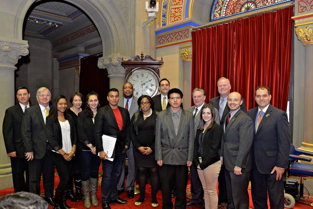 Assemblyman Fred W. Thiele, Jr. welcomed several Suffolk County Community College students who travelled to Albany on Thursday, February 25, 2016 to advocate for higher education initiatives and the inclusion of increased funding for community colleges in the 2016-17 State Budget. Pictured from left to right: James Morgo, SCCC Board of Trustees Vice Chair; Anyerlin Mora; Rachel Garcia; Assemblyman Thiele; Christopher North; Jessica Villegas; Daniel Moran and Tashanna Suomi