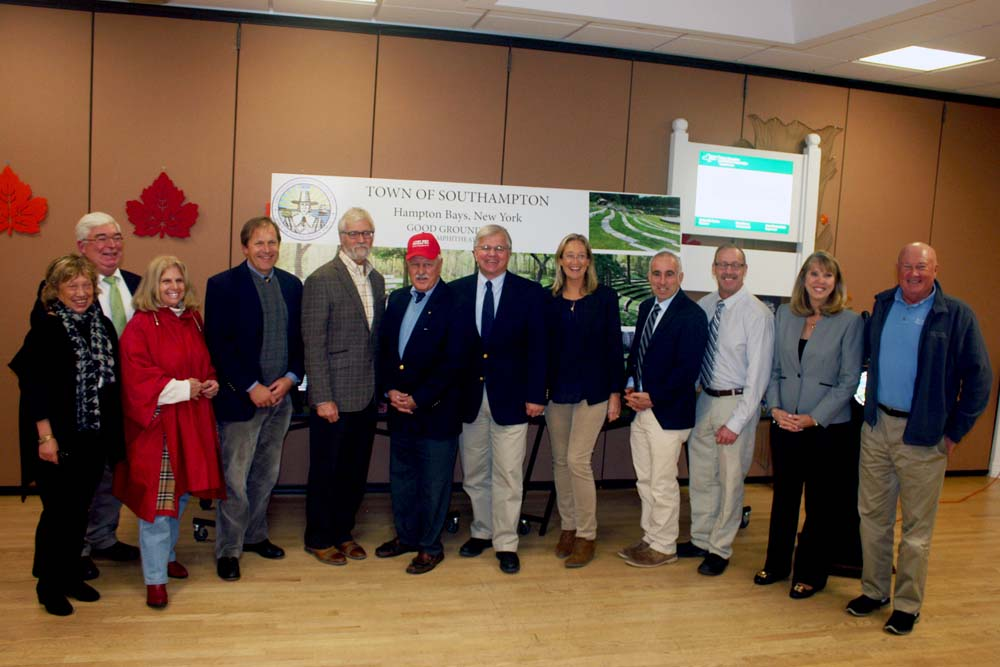 Assemblyman Fred W. Thiele, Jr. joined Senator Ken LaValle and Southampton Town officials at the Hampton Bays Community Center to announce they have secured an additional $1 million to help support the construction of Good Ground Park in Hampton Bays.