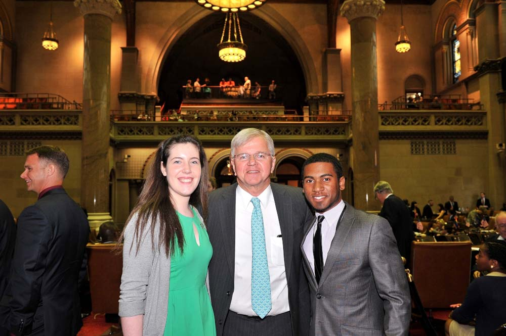 Assemblyman Fred W. Thiele, Jr. welcomed Sarah Pierson and William Reddick to the Assembly Chamber in Albany on Monday, May 18, 2015.  These Southampton High School students were selected to attend the 15th Annual Students Inside Albany (SIA) Conference sponsored by the League of Women Voters of New York State Education Foundation, Inc.  The SIA Conference brings together students from across the State to learn about New York State Government and how citizen participation influences the public policy process.