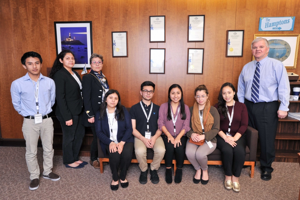 On Monday March 27, 2017, Assemblyman Fred W. Thiele, Jr. (I, D, WF, WE -Sag Harbor) welcomed students from the Angelo Del Toro Puerto Rican/Hispanic Youth Leadership Institute who were in Albany as part of the 30th Annual SOMOS El Futuro Conference. Local students were selected from East Hampton High School, Hampton Bays High School, Riverhead High School, and Southampton High School. Pictured with Assemblyman Thiele from left to right: Freddy Sanchez (East Hampton), Norma Guerra España (Riverhead), Isabel Sepulveda-Scanlon (Southampton - chaperone), seated: Doris Hernandez (Southampton), Cesar Flores (Riverhead), Elizabeth Tigre (East Hampton), Tabatha Fajardo (Hampton Bays), Evelyn Carreño (East Hampton).<br />