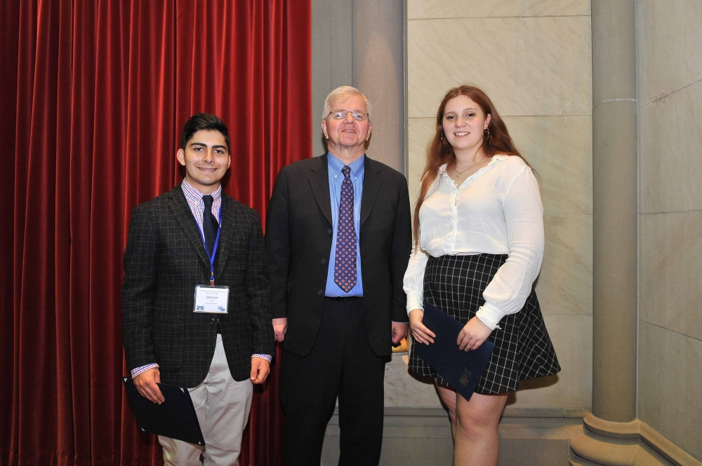 Assemblyman Fred W. Thiele, Jr. (I, D, WF, WE - Sag Harbor) welcomed Jackson Parli and Stella Westlake to the Assembly Chamber in Albany on Monday, May 22, 2017. These Westhampton Beach High School students were selected to attend the 17th Annual Students Inside Albany (SIA) Conference sponsored by the League of Women Voters of New York State Education Foundation, Inc. The SIA Conference brings together students from across the State to learn about New York State Government and how citizen participation influences the public policy process.<br />