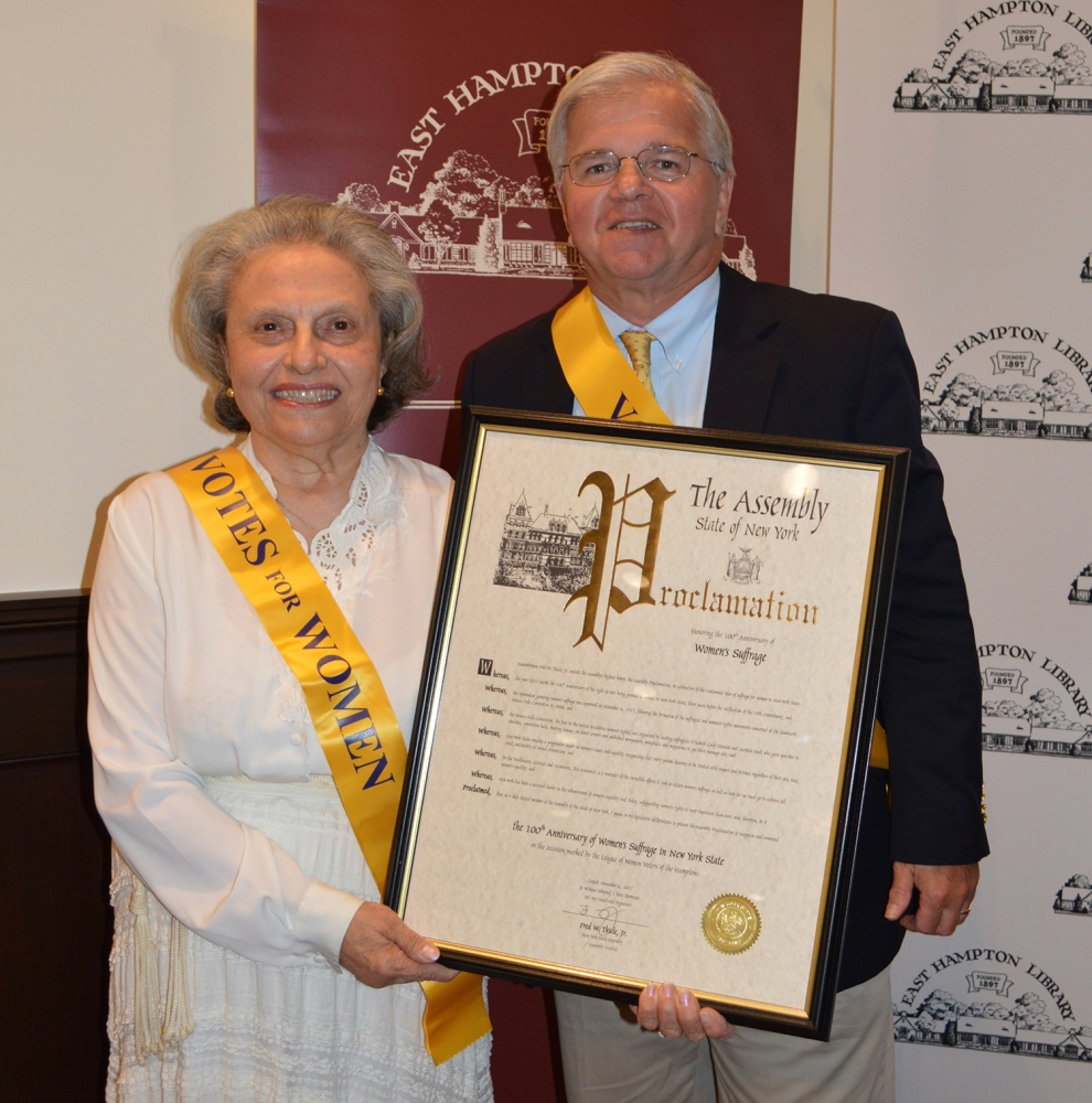 On October 19, 2017, NYS Assemblyman Fred W. Thiele, Jr. presented a proclamation on behalf of the New York State Assembly to historian Arlene Hinkemeyer, a member of the League of Women Voters of the Hamptons, to recognize and commend the 100th Anniversary of Women's Suffrage in New York State.<br />