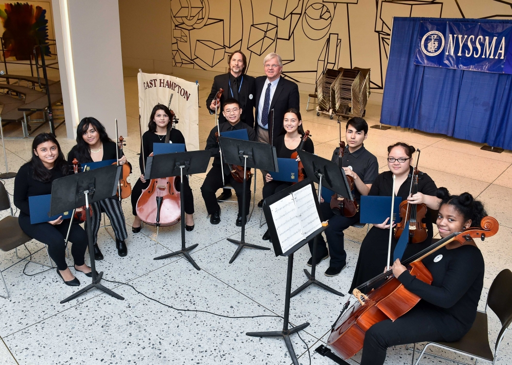 Assemblyman Fred W. Thiele, Jr. (I, D, WF, WE-Sag Harbor) welcomed students from the East Hampton High School Chamber Ensemble who performed on Monday, March 19, 2018 on the South Concourse of the Empire State Plaza in Albany in celebration of