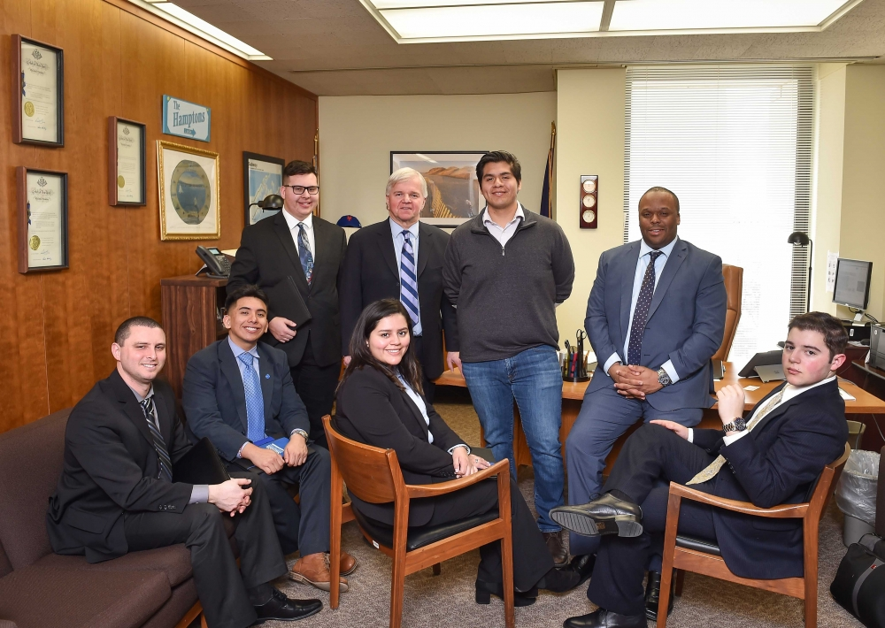 Assemblyman Fred W. Thiele, Jr. (I, D, WF, WE-Sag Harbor) welcomed several Suffolk County Community College students who traveled to Albany on Wednesday, February 28, 2018 to advocate for higher education initiatives and the inclusion of increased funding for community colleges in the 2018-19 State Budget.&nbsp;Pictured from left to right: Denny Teason (Administration &ndash; Eastern Campus), Frandy Tapia, William Tart, Assemblyman Thiele, Santiago Saldivar, Student Trustee Jerome Bost, seated left &ndash; Kelly Perez, seated right &ndash; Joseph LaLota.&nbsp;<br /><br />&nbsp;
