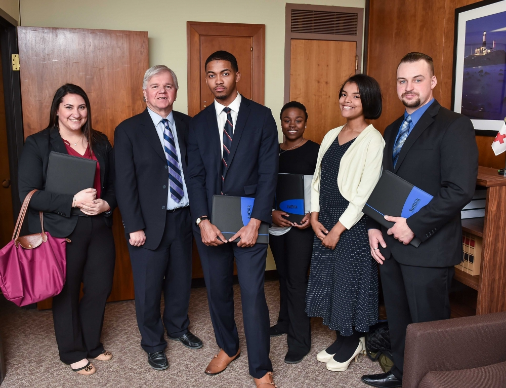 Assemblyman Fred W. Thiele, Jr. (I, D, WF, WE-Sag Harbor) welcomed several Suffolk County Community College students who traveled to Albany on Wednesday, February 28, 2018 to advocate for higher education initiatives and the inclusion of increased funding for community colleges in the 2018-19 State Budget.&nbsp;Pictured from left to right: Allie Domingo, Assemblyman Thiele, Joseph Piper, Chantel Bizzle, Tiffany Armstrong, Jacobe Nall.<br /><br /><br />&nbsp;