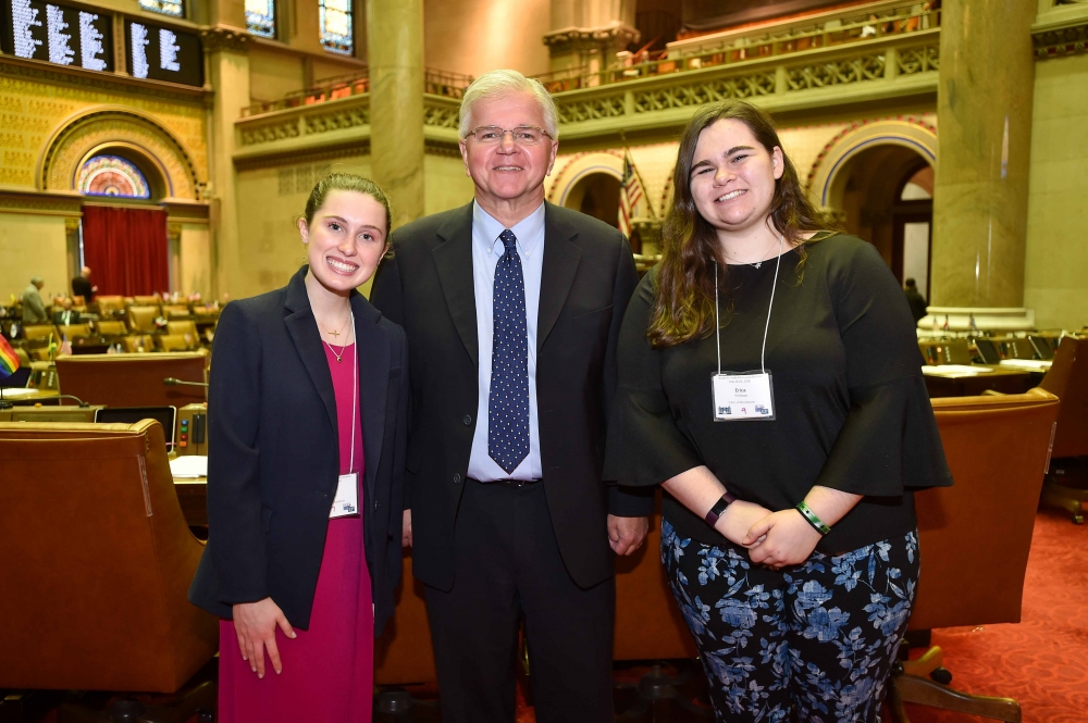Assemblyman Fred W. Thiele, Jr. (I, D, WF, WE - Sag Harbor) welcomed Ava Bianchi from Hampton Bays High School and Erica Whitman from William Floyd High School to the Assembly Chamber in Albany on Tuesday, May 22, 2018. These students were selected to attend the 18th Annual Students Inside Albany (SIA) Conference sponsored by the League of Women Voters of New York State Education Foundation, Inc. The SIA Conference brings together students from across the State to learn about New York State Government and how citizen participation influences the public policy process. Pictured left to right:  Ava Bianchi, Assemblyman Thiele, Erica Whitman
