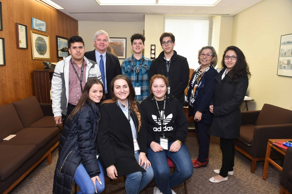 On Monday, March 12, 2018, Assemblyman Fred W. Thiele, Jr. (I, D, WF, WE - Sag Harbor) welcomed students from the Angelo Del Toro Puerto Rican/Hispanic Youth Leadership Institute who were in Albany as part of the 31st Annual SOMOS El Futuro Conference. Local students were selected from East Hampton High School, Hampton Bays High School, Riverhead High School, Southampton High School, and Longwood High School. Pictured (seated) left to right: Melany Loor (Longwood), Michelle Moreno (Hampton Bays), Melany Rodriguez (Southampton);&nbsp; (standing) left to right: Jorge Aranzazu (East Hampton), Assemblyman Thiele, German Erazo (Riverhead), Bismar Trojillo (Southampton),&nbsp; Isabel Sepulveda-Scanlon (Southampton &ndash; chaperone), Laura Salcedo (East Hampton).<br />&nbsp;