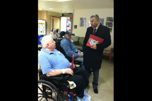 Assemblyman Phil Ramos delivered over 600 hand-made Valentine's Day cards to veterans at the New York State Veterans' Home on Long Island.