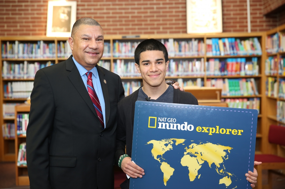 Last fall, Assemblyman Ramos brought together National Geographic and Cablevision to sponsor a local essay contest in Brentwood where the winner would receive an all-expenses paid educational trip to their choice of 30 different countries. This past April the winner was announced.  Brentwood High School student Xavier Cornejo was the winner of the Nat Geo Mundo World Explorer essay contest. Xavier will take an all-expense paid two week educational journey to Brazil.