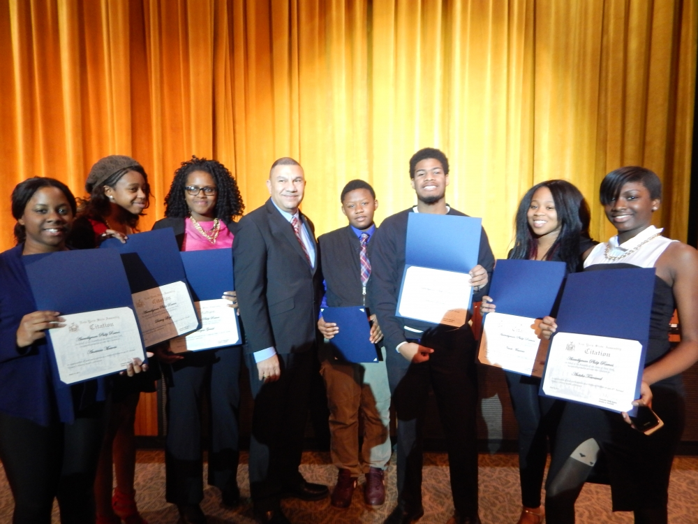 Assemblyman Phil Ramos was joined by the Herstory's Writers Workshop and Central Islip Dynamic Dancers at the Brentwood South Middle School to commemorate the outstanding achievements of women at his
