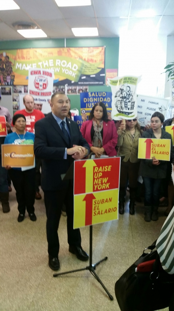 Assemblyman Ramos joins Make the Road New York at a press conference calling for a raise in the state's minimum wage – with a higher rate for high cost of living areas such as Suffolk county.