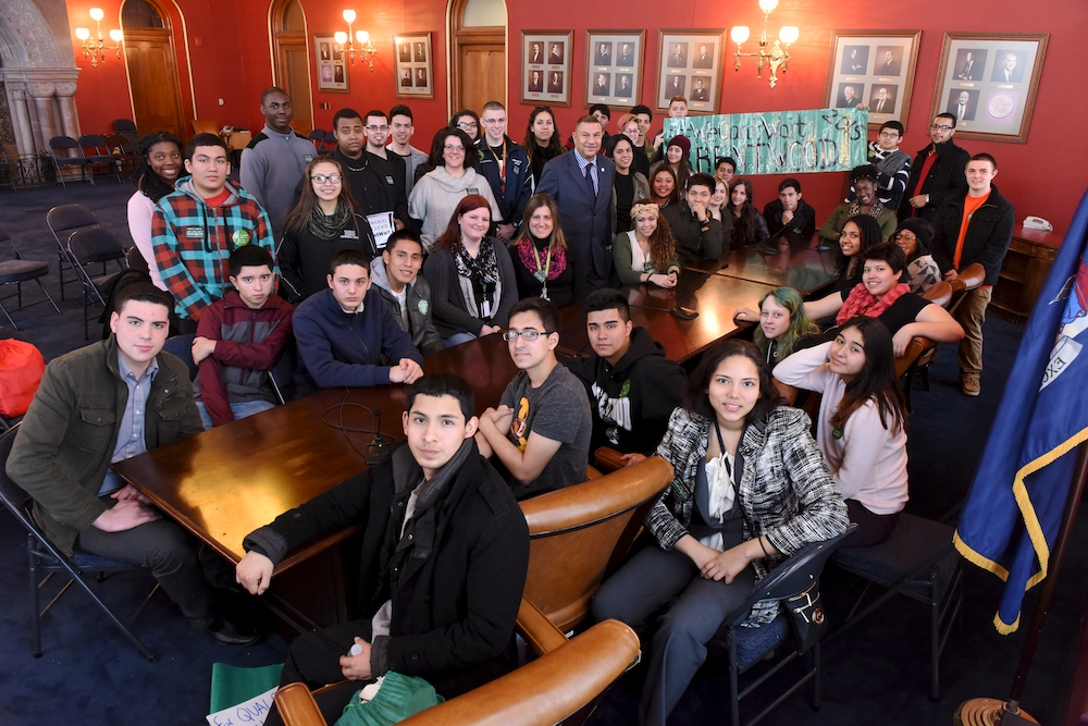 Deputy Majority Leader Phil Ramos meets with Brentwood High School Students on their recent trip to Albany. Assemblyman Ramos gave the students a tour and discussed the legislative process.