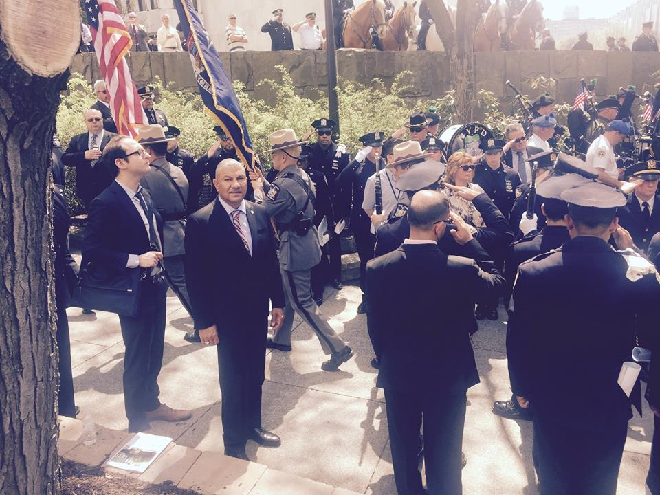 Assemblyman Ramos at the New York Police Officer Memorial Ceremony on May 5th acknowledging the contributions of officers that have lost their lives in their line of duty.