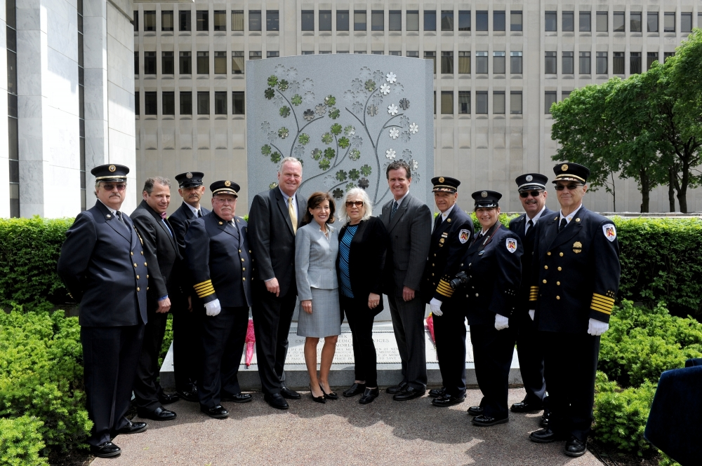 Assemblyman Mike Fitzpatrick (R,C,I-Smithtown), along with Lt. Gov. Kathy Hochul, Senate Majority Leader John Flanagan, and Assemblyman Andy Raia at the EMS Memorial Dedication at the Empire State Plaza in Albany.