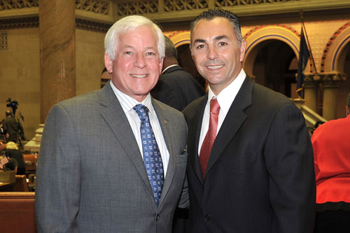 Assemblyman Charles Lavine (D – North Shore Long Island) and New York Mets star, left-handed pitcher John Franco at the State Capitol in Albany for the 50th Anniversary of the New York Mets. Lavine and Franco discussed hardball at Shea Stadium and in Albany.