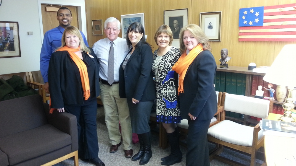Assemblyman Charles Lavine (D-Glen Cove) welcomed members of the National Multiple Sclerosis Society Long Island Government Relations Committee at his Albany office to discuss legislation that will improve access to health care. On hand to discuss the issue were Rich Able, Robin D'Andrea, Karen Kolb, Leighanne Cade and Jane Reilly.