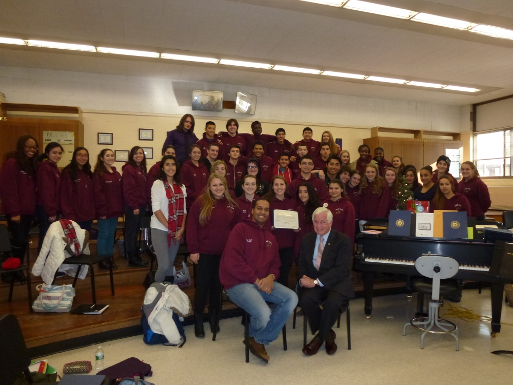 Assemblyman Charles Lavine, right, visited Glen Cove High School to congratulate Select Chorale Director Edward Norris and Chorale members on their invitation to sing Christmas carols at the White House. Calling it a blessing for the choir and school, Norris said the 49 member chorale was in Washington from December 11-14 and visited several landmarks to carol. The chorale, which won first place among choirs at the North American Music Festival in Virginia Beach two years ago, was selected through an application process. They have also performed at Westminster Choir College in Princeton, New Jersey and at the American Choral Director Convention in Rochester two years ago.