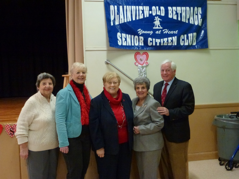 Assemblyman Charles Lavine, right, celebrated the New Year with members of the Plainview-Old Bethpage Senior Club at the Jamaica Avenue School in Plainview during a breakfast held recently. Assemblyman Lavine, who joined Nassau County Legislator Judy Jacobs, center, commended P-OB Senior Citizen Club staff, from left, Rosemarie Mandler, Vice President, Carol Kokol, President, and Rachel Staiano, Director on their good work and wished all those on hand a healthy New Year and a Happy Valentine's Day.