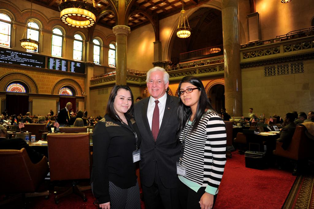 Assemblyman Charles Lavine (D-Glen Cove) welcomed Elizabeth Garcia and Katherine Cruz who participated in the Angelo Del Toro Puerto Rican/Hispanic Youth Leadership Institute in Albany. The young women first visited Assemblyman Lavine in his district office to discuss legislation that would assist minorities. They participated in a mock session of the Assembly while in Albany.