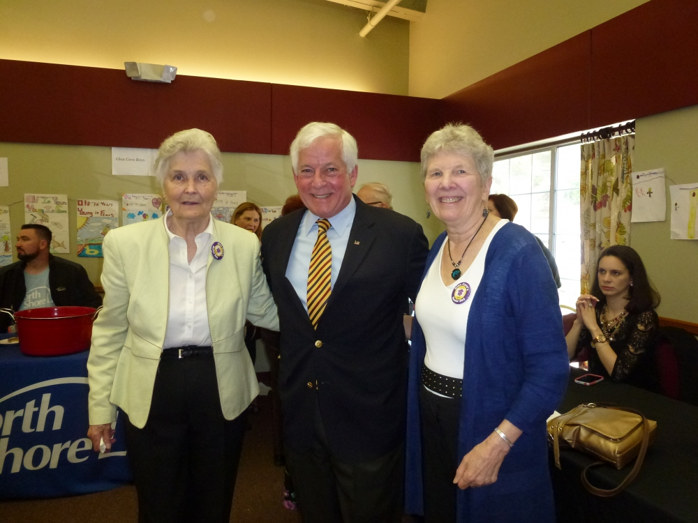 Assemblyman Charles Lavine, center, was presented with the Bob Howard Award during Glen Cove's 8th Annual Senior Recognition Day at the Glen Cove Senior Center on May 10.  Bob Howard, who passed away in 2012, was responsible for initiating Senior Day in 2006 and was deeply committed to his community. The award is presented for community-minded individuals who go above and beyond to contribute their efforts. Carol Waldman, Executive Director of the Senior Center, presented Assemblyman Lavine with the award. Janina Jania was honored as Volunteer of the Year, left, and Carolyn Willson, right, was presented with the Lifetime Achievement Award.