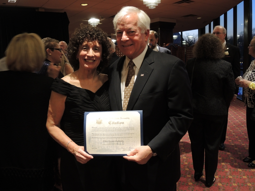 "Assemblyman Charles Lavine, left, presents Ellen Kessler Dubinsky, a Mathematics teacher at Nassau BOCES Barry Tech and The Doshi STEM Program with a citation during the 2014 Nassau BOCES Education Partner Awards dinner at the Crest Hollow Country Club in Woodbury. The event recognizes the ""Most Influential People for Public Education in Nassau County"" annually. Categories include Education Partners, Nassau BOCES Employees, Organizations, School Board Members, Students and Teachers. Recipients were chosen for the honor from among dozens of nominees by a committee of distinguished educators and community leaders who identified individuals and organizations who personified the spirit of educational partnerships and had a measurable impact on public education in Nassau County."