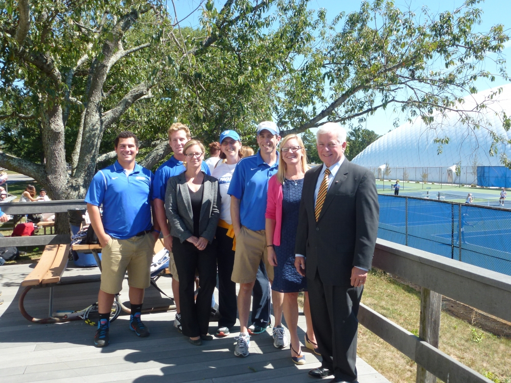 "Assemblyman Charles Lavine (D-Glen Cove) right, paid a visit to Hofstra University to meet with athletic trainers and students who are supporting Assemblyman Lavine's legislation – Bill <a href=""/leg/?bn=A06678&term=2013"" target=""blank"">A06678</a> which  expands the definition of Athletic Trainer, establishes licensure, and creates a continuing education requirement for licensed Athletic Trainers. The Assemblyman toured facilities including physical therapy rooms to discuss the impact of the legislation with, from left, Jordan DeBettencourt, undergraduate athletic training student, Ian Leary, undergraduate athletic training student, Dr. Jayne Ellinger, Athletic Training Education Program Director, Dr. Katie Sell, Exercise Science Program Director, Andrew Wetstein, Associate Athletic Trainer and Kristin LoNigro, Athletic Training Education Clinical Education Coordinator."