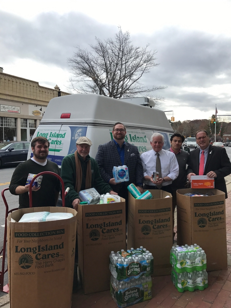 Pictured (L to R) are William Gonyou, Community Event and Food Drive Manager, Peter Braglia, COO, Michael Haynes, Chief Government Affairs Officer, Assemblymember Lavine, Nelson Melgar, Assembly Constituent Liaison and Paule Pachter, CEO.<br />&nbsp;