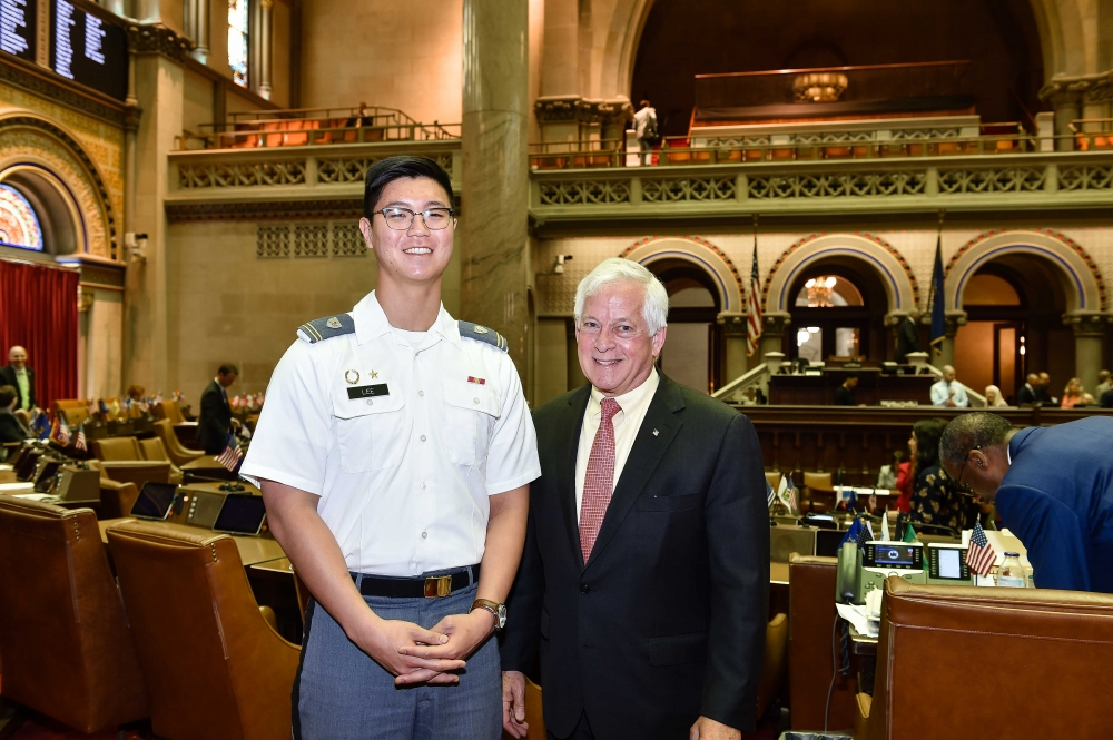 Pictured are Cadet Jungmin Lee, USMA and Assemblyman Charles Lavine.<br />&nbsp;