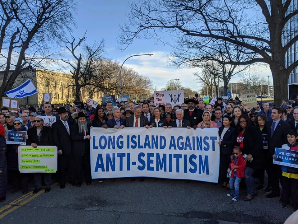 Assemblymember Lavine marches alongside his colleagues at The March Against anti-Semitism in Mineola