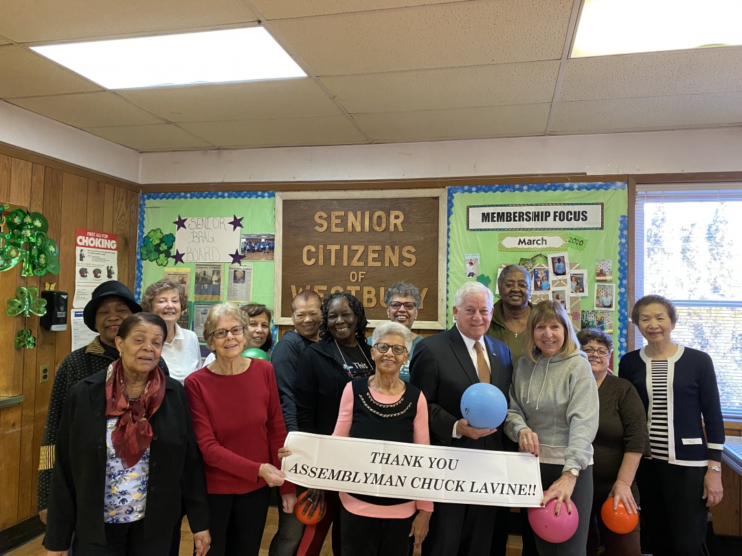 Assemblymember Lavine attends the Westbury Senior Center to discuss how they will be using the grant Assemblymember Lavine provided.