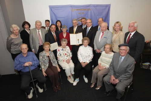 Recently, Assemblyman Charles Lavine visited the Harriet & Kenneth Kupferberg Holocaust Resource Center at Queensborough Community College to present a proclamation from the National Association of Jewish Legislators of New York in commemoration of the Holocaust. Dr. Arthur Flug, the center's executive director, was pleased to accept the proclamation in the presence of a number of Holocaust survivors. Also in attendance were Dr. Eduardo Marti, president of Queensborough Community College, friends and public officials.