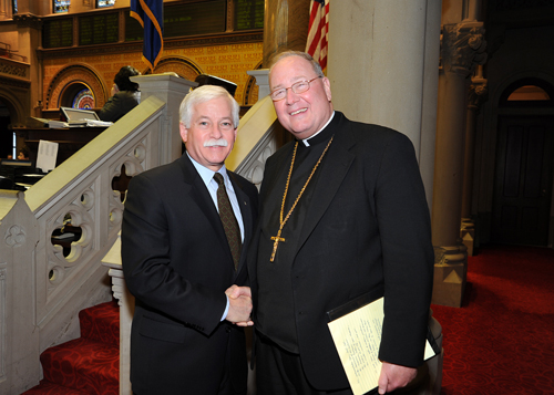 "Assemblyman Lavine was honored to meet with Archbishop Timothy Dolan, Roman Catholic Archbishop of New York, when the archbishop visited Albany for New York State Catholic Conference Public Policy Day on Monday, March 8. Assemblyman Lavine said, ""I greatly enjoyed the opportunity to speak with Archbishop Dolan and look forward to our next meeting."" The assemblyman and archbishop are pictured in the State Assembly chambers in Albany."