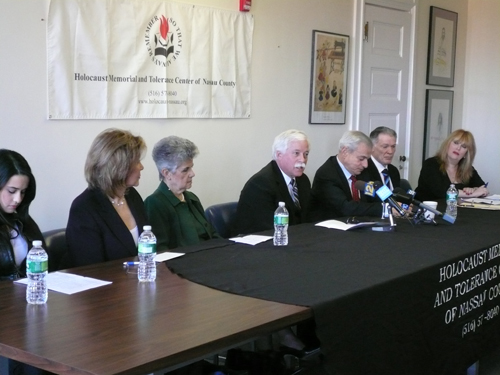 Assemblyman Charles Lavine was proud to sit on a panel for the reopening of the Holocaust Memorial and Tolerance Center of Nassau County on Jan. 21. The assemblyman was joined by Carly Haft, 14, the granddaughter of a Holocaust survivor; Erica Witover, the daughter of Holocaust survivors; Gloria Glantz, a Holocaust survivor; former Nassau County Executive Thomas Gulotta; and Howard Maier, chairman of the board, Holocaust Memorial and Tolerance Center. Panel members discussed their personal connection to the Center and the Center's noble mission.