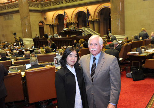 "Assemblyman Lavine is pictured with Nicole Chun, a Jericho High School student and participant in the League of Women Voters' ""Students Inside Albany"" program."