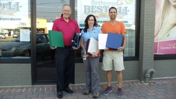 Pictured (left to right): Assemblyman Dave McDonough, Tobi Innerfield and John Theissen with supplies donated to the assemblyman's Annual School Supply Collection Drive.