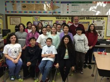 Assemblyman Dave McDonough is joined by Mrs. Cain's sixth grade class at Chatterton Elementary School.