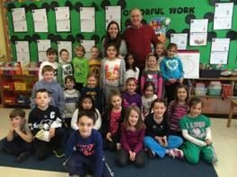 Assemblyman Dave McDonough with Mrs. Kinderman's first grade class.