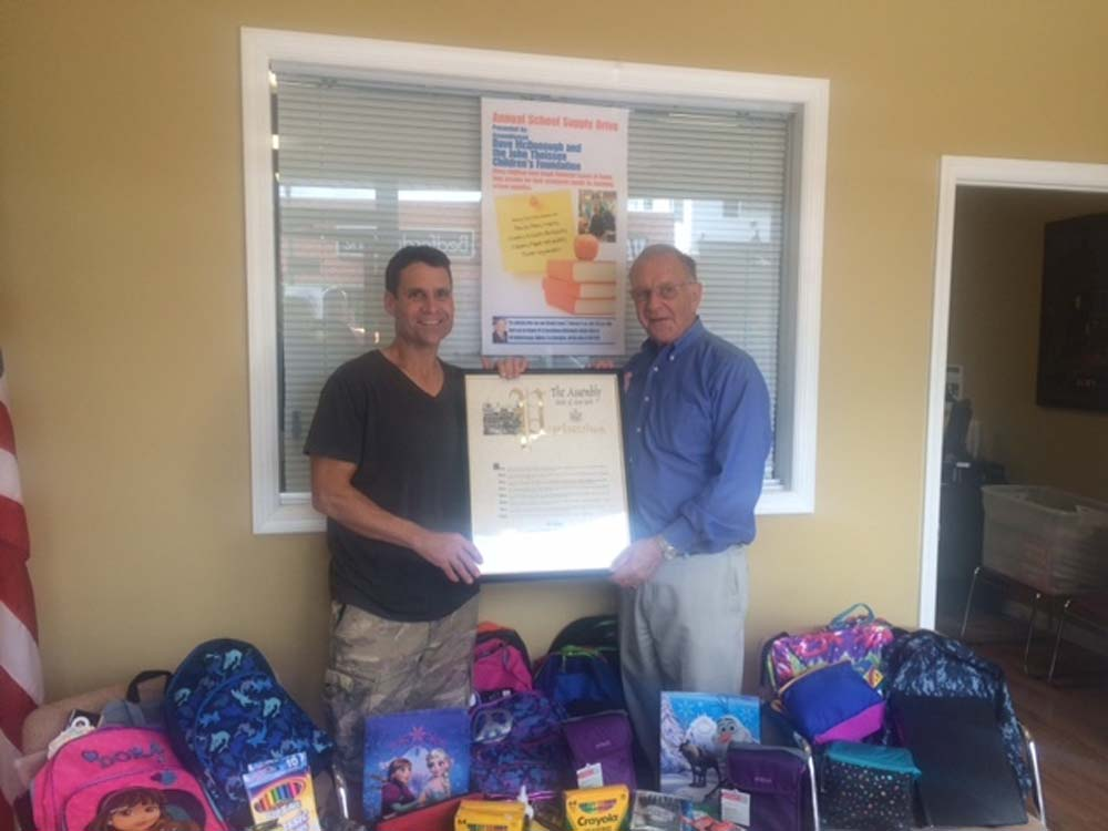 "In conjunction with delivering a large amount of school supplies to John Theissen of the John Theissen Children's Foundation of Wantagh, I was privileged to present a New York State Assembly Proclamation honoring him for being named the <strong>Wantagh Herald Citizen</strong> ""Man of the Year"" for his efforts on behalf of sick and underprivileged children."