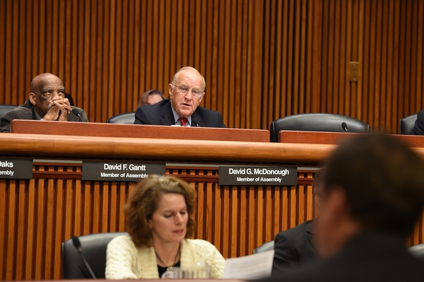 Assemblyman Dave McDonough (R,C,I-Merrick) (center) at the 2016 Joint Legislative Budget Hearing on Transportation where he raised concerns directly to Transportation Commissioner Matthew Driscoll over stretches of the Southern State Parkway in Nassau County. McDonough called for the Department of Transportation to address a section of the highway notoriously dubbed 'Blood Alley,' due to its dangerous curves and frequent accidents.