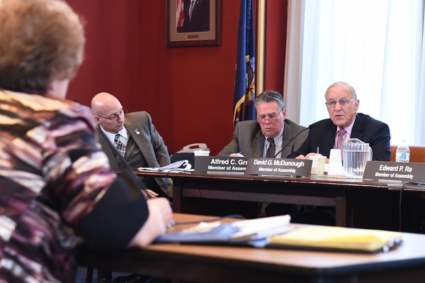 Assemblyman Dave McDonough (R,C,I-Merrick), pictured right, questions a Regents candidate in Albany. The assemblyman was one of several legislators on a panel that interviewed 32 candidates for the two open seats on the New York State Board of Regents.