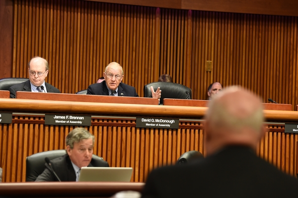 Assemblyman Dave McDonough (R,C,I-Merrick) is shown questioning MTA Chairman Tom Prendergast at the MTA Joint Budget Hearing last week in Albany.