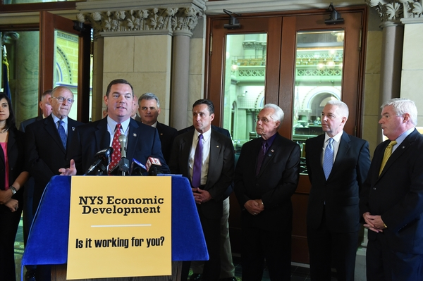 Assemblyman Dave McDonough (R,C,I-Merrick) [back left] joins Assembly Minority colleagues calling for more transparent and efficient economic development programs at a press conference in Albany Monday