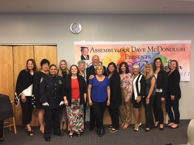 [From left to right] Sara Vasilakos of Wantagh, Theresa Ruescher of North Bellmore, Doreen Moran of Merrick, Heather Berberich of Merrick, Berta Weinstein of Merrick, Michelina Saracino of Merrick, Assemblyman Dave McDonough (R,C,I-Merrick), Virginia Ott of Wantagh, Dawn Cirino-Sambade of North Merrick, Nancy Evans of Levittown, C.J. Marie of North Bellmore, Dominique Tirino of Merrick, Dr. Jamie Rockwin of Merrick and Rachel Roslow of Merrick.<br />