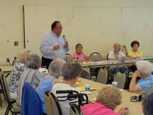 Assemblyman Montesano, speaking with seniors on July 21, 2011 in Glen Head, discusses property tax cap and unfunded mandate relief.