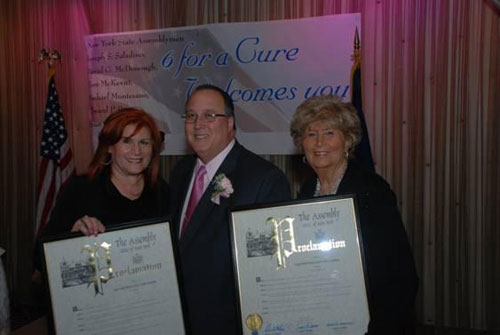 Geri Barish of the Long Island Breast Cancer Coalition, Assemblyman Michael Montesano and Louise Levine of Hewlett House