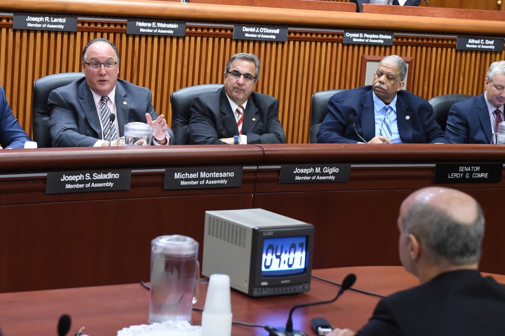 Assemblyman Michael Montesano questions NYS Chief Administrative Judge Lawrence Marks at a recent Public Protection Joint Budget Hearing.