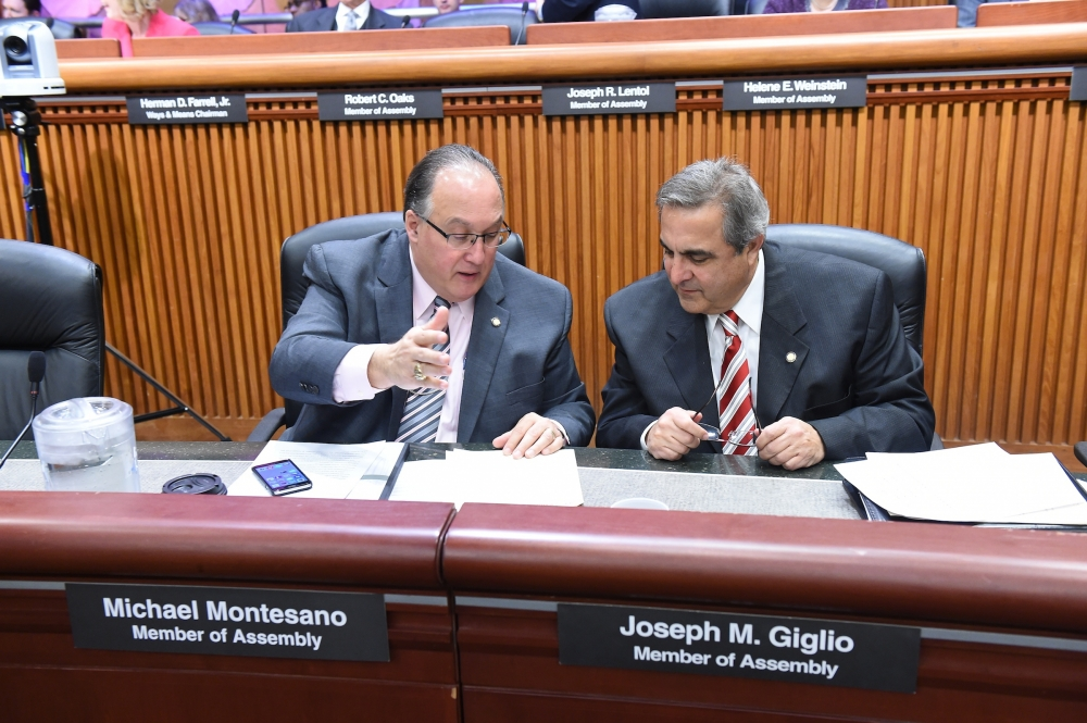 Assemblymen Michael Montesano and Joseph Giglio (R,C,I-Gowanda) discuss Public Protection Budget details prior to a recent joint legislative hearing.