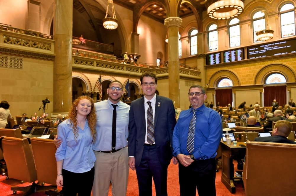 Assemblyman John Mikulin pictured with Assistant Basketball Coach Amanda Geffen, Head Basketball Coach Gerard Sorrentino, and Athletic Director Carl Sorrentino of the Lexington School & Center for